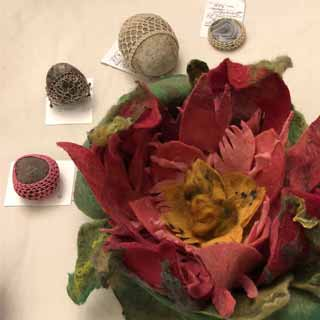 Meditation stones and felted flower